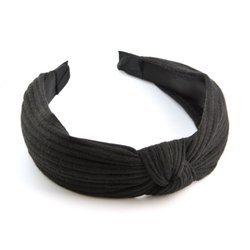 Opaska do włosów z prążkowanego materiału (czerń)